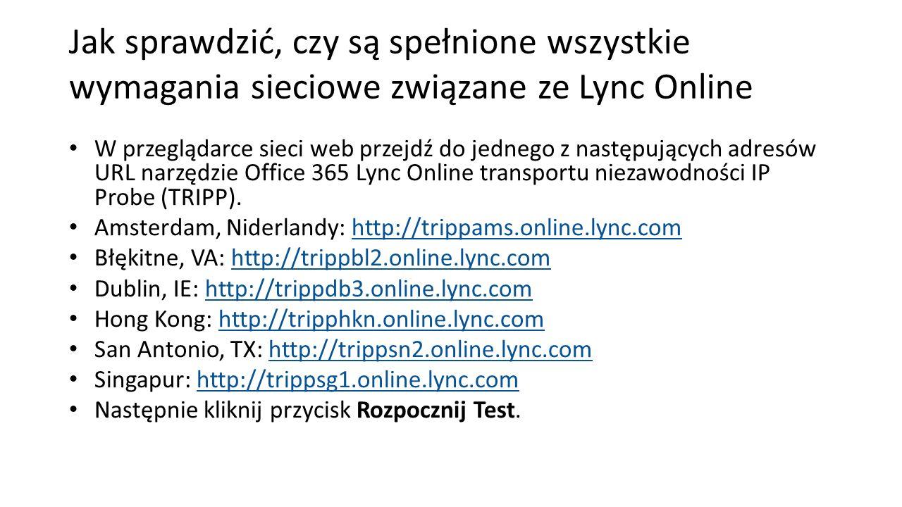 Jak sprawdzić, czy są spełnione wszystkie wymagania sieciowe związane ze Lync Online