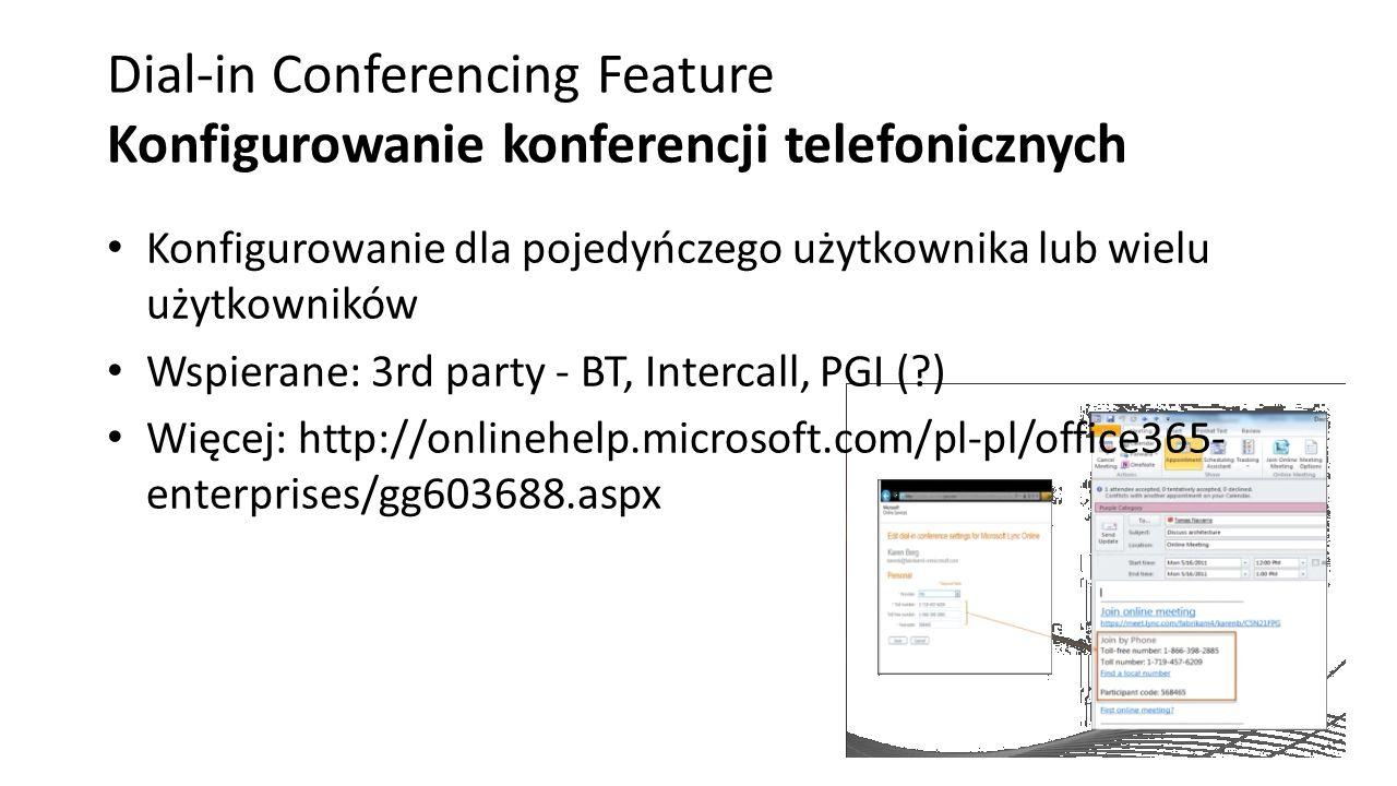 Dial-in Conferencing Feature Konfigurowanie konferencji telefonicznych