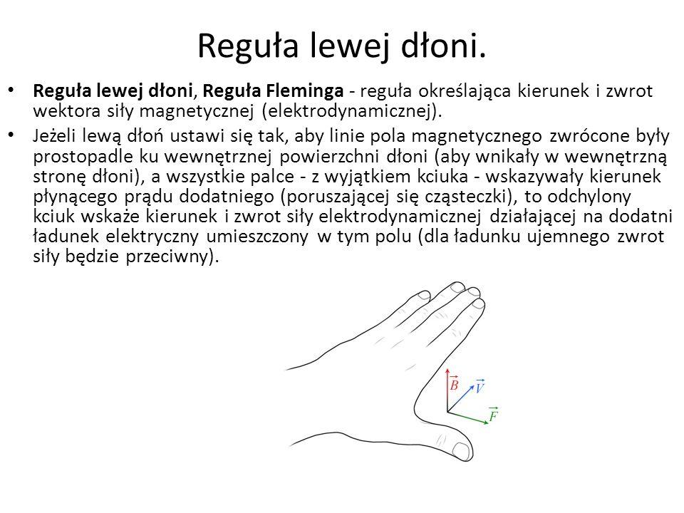Reguła lewej dłoni. Reguła lewej dłoni, Reguła Fleminga - reguła określająca kierunek i zwrot wektora siły magnetycznej (elektrodynamicznej).