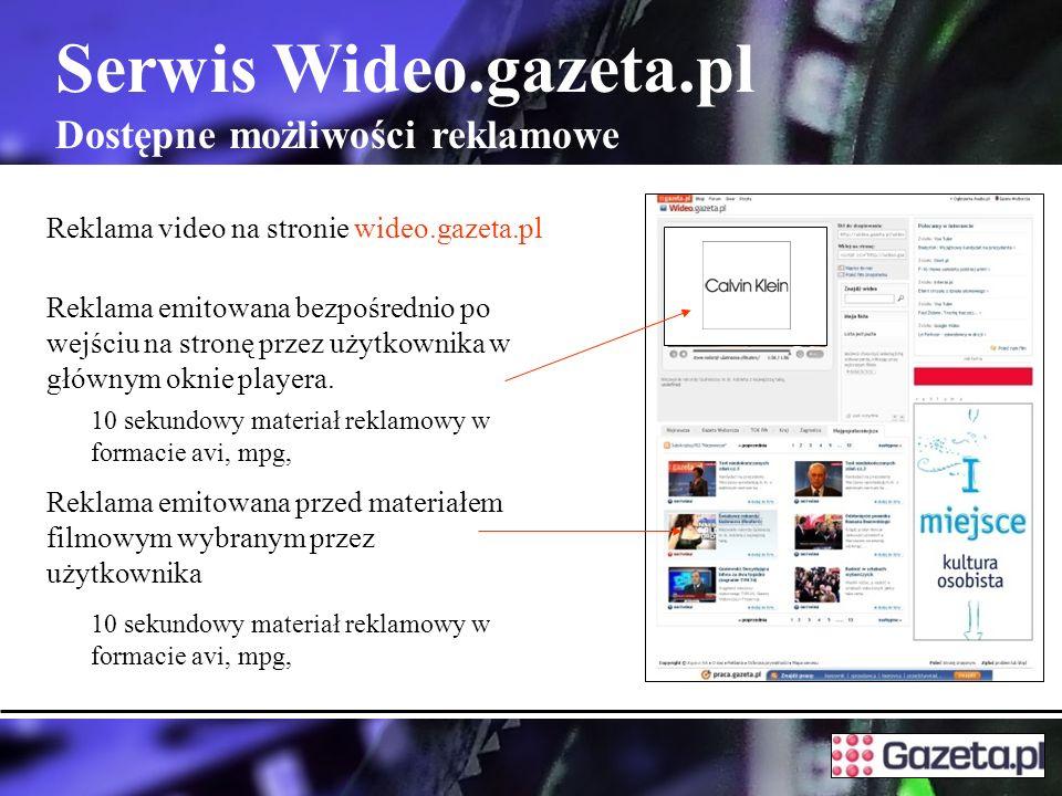 Serwis Wideo.gazeta.pl Dostępne możliwości reklamowe