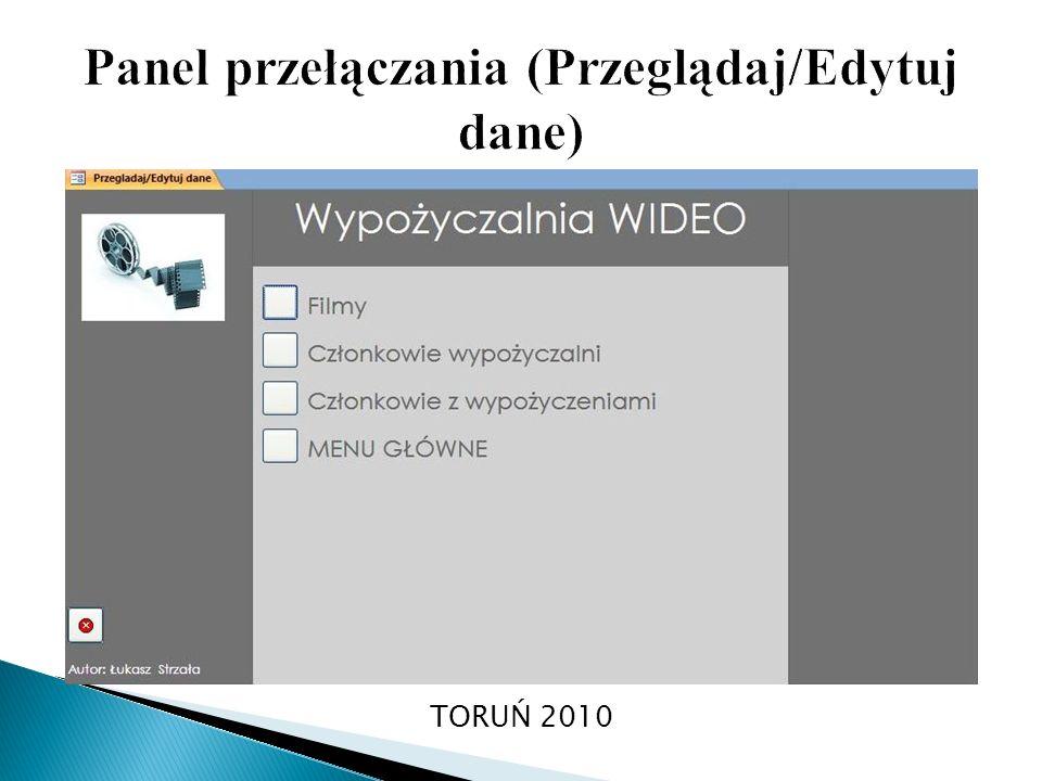Panel przełączania (Przeglądaj/Edytuj dane)