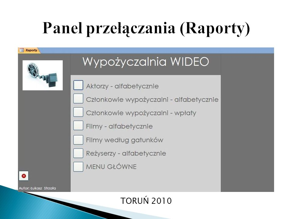 Panel przełączania (Raporty)