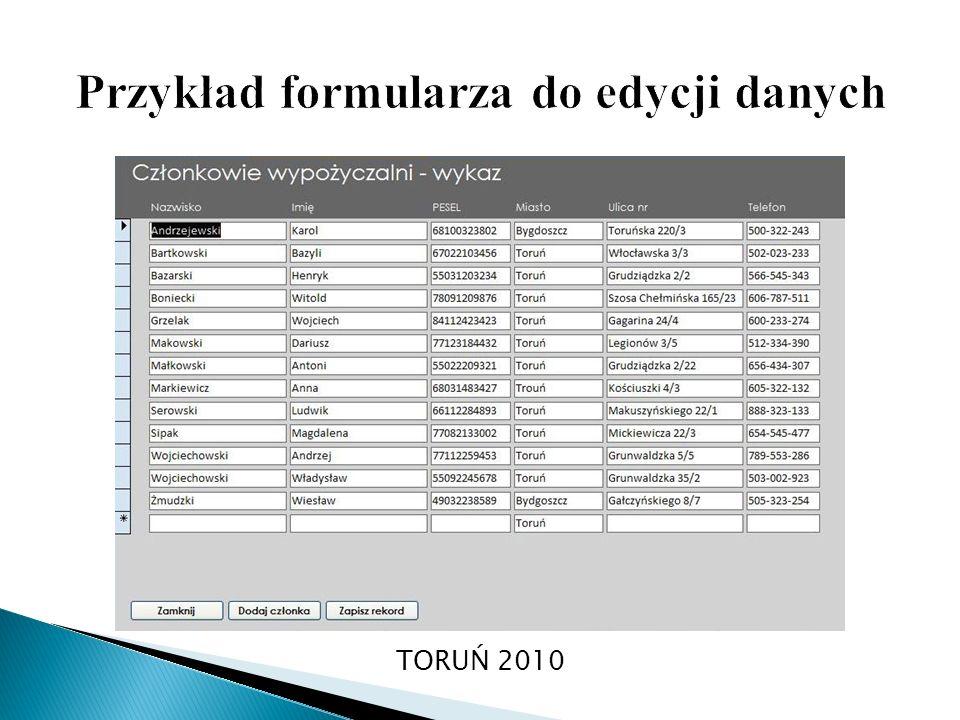Przykład formularza do edycji danych