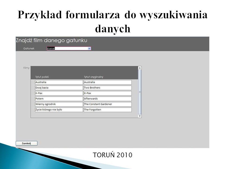 Przykład formularza do wyszukiwania danych