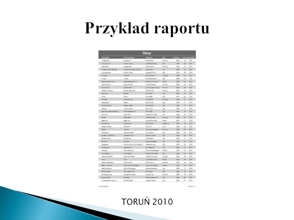 Przykład raportu TORUŃ 2010