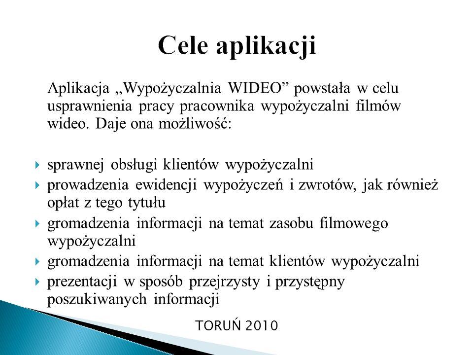 """Cele aplikacji Aplikacja """"Wypożyczalnia WIDEO powstała w celu usprawnienia pracy pracownika wypożyczalni filmów wideo. Daje ona możliwość:"""