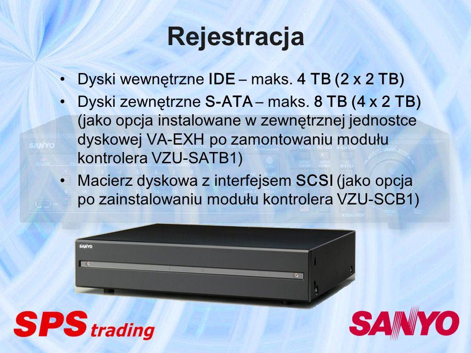 Rejestracja Dyski wewnętrzne IDE – maks. 4 TB (2 x 2 TB)
