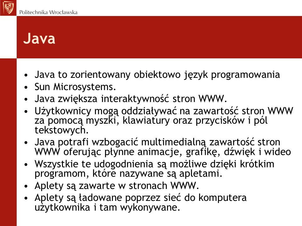 Java Java to zorientowany obiektowo język programowania