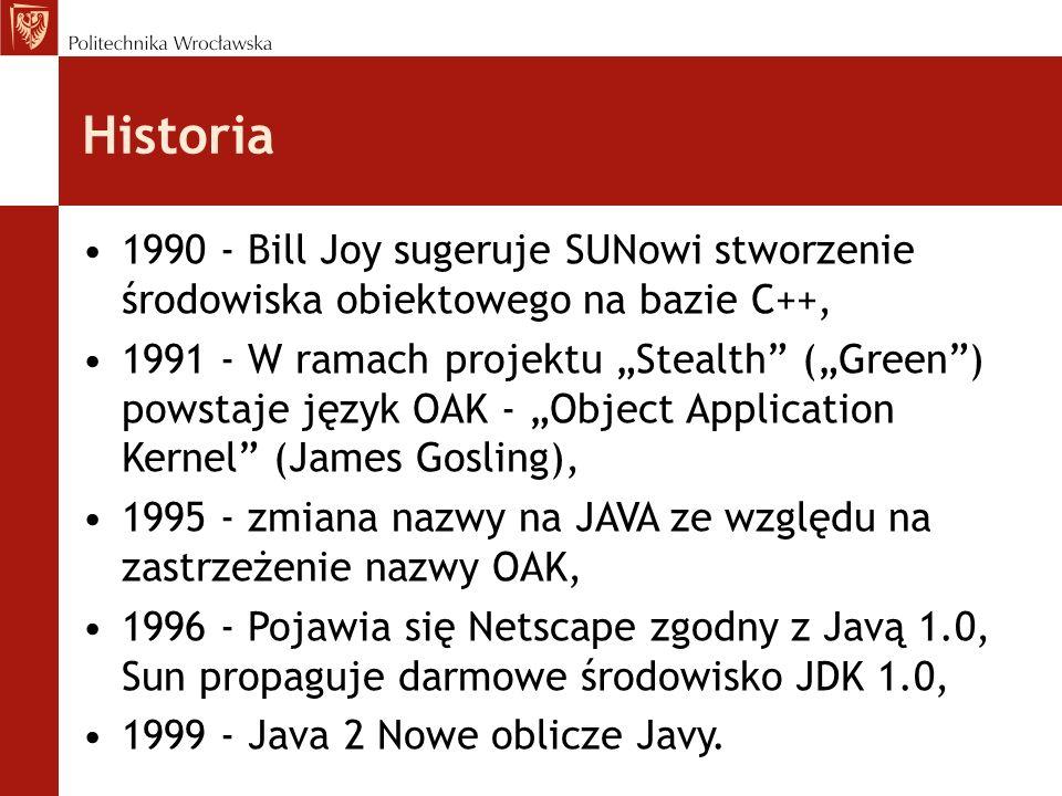 Historia 1990 - Bill Joy sugeruje SUNowi stworzenie środowiska obiektowego na bazie C++,