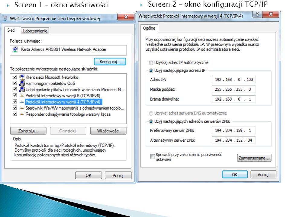 Screen 1 – okno właściwości