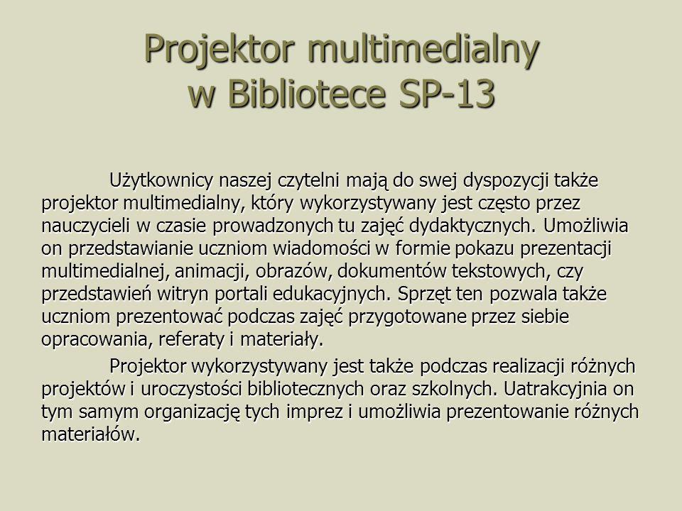 Projektor multimedialny w Bibliotece SP-13