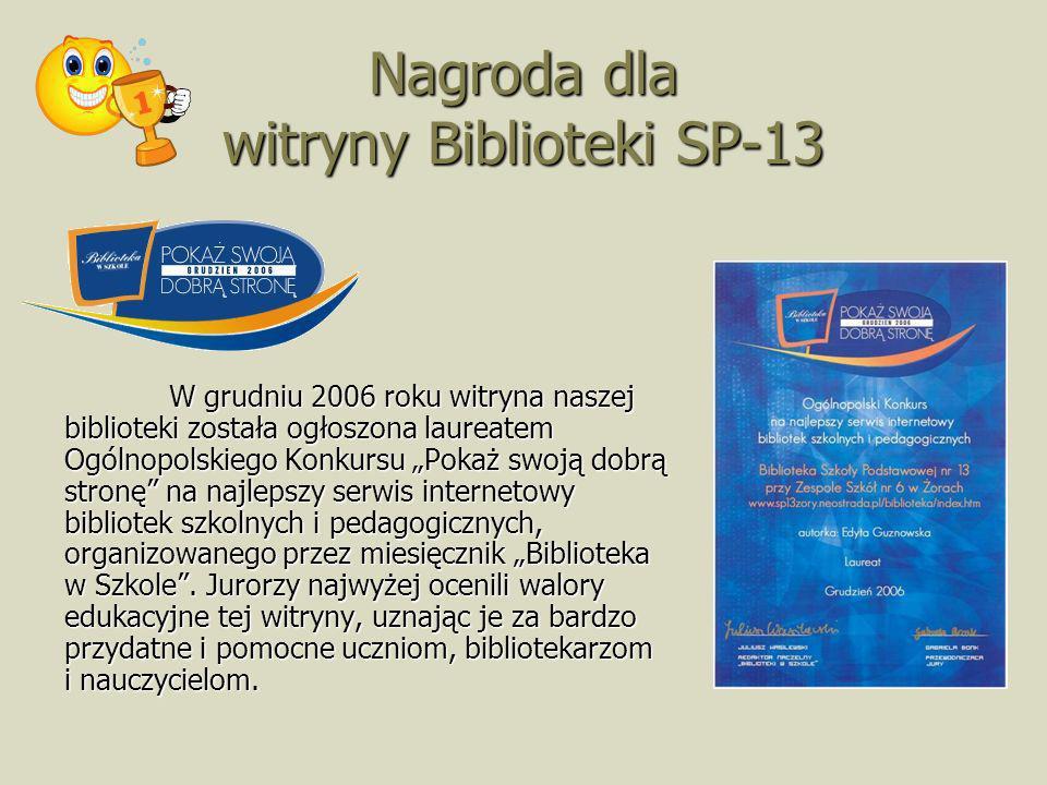 Nagroda dla witryny Biblioteki SP-13