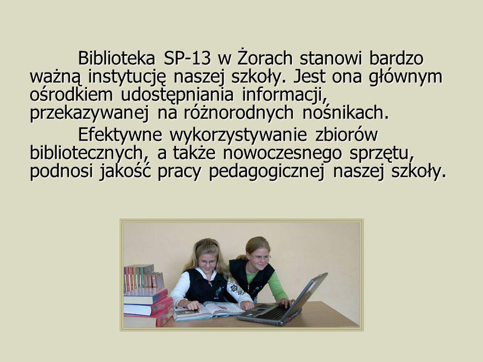 Biblioteka SP-13 w Żorach stanowi bardzo ważną instytucję naszej szkoły. Jest ona głównym ośrodkiem udostępniania informacji, przekazywanej na różnorodnych nośnikach.