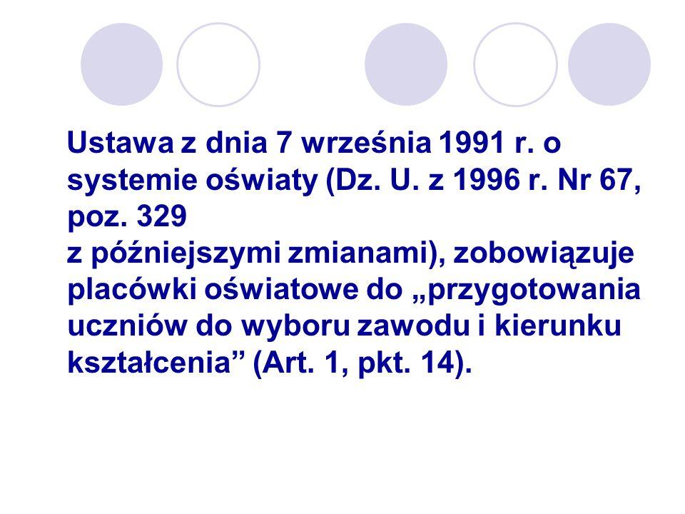 Ustawa z dnia 7 września 1991 r. o systemie oświaty (Dz. U. z 1996 r