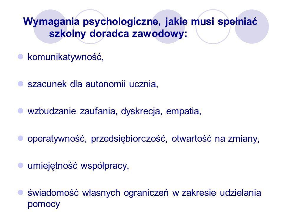 Wymagania psychologiczne, jakie musi spełniać szkolny doradca zawodowy: