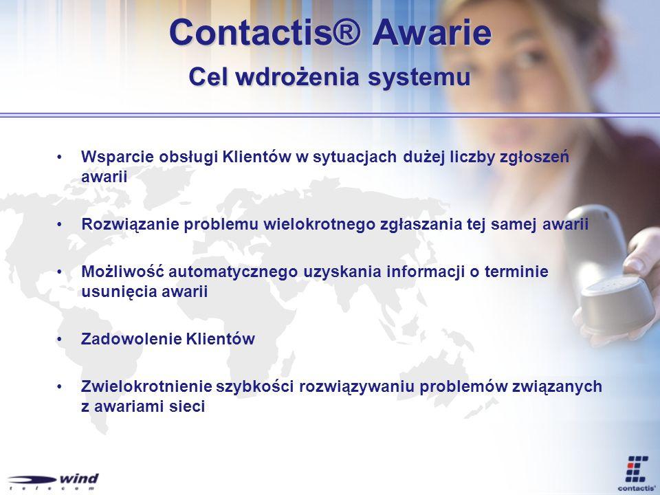 Contactis® Awarie Cel wdrożenia systemu