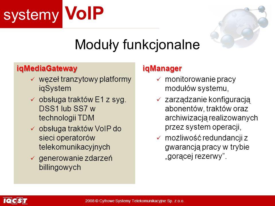 Moduły funkcjonalne iqMediaGateway węzeł tranzytowy platformy iqSystem