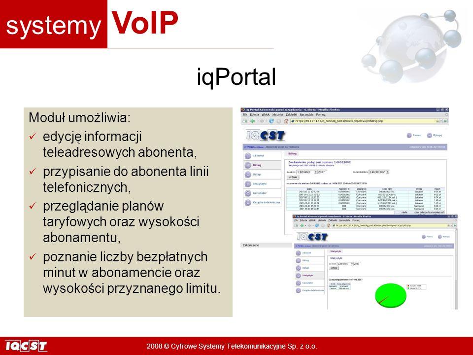iqPortal Moduł umożliwia: edycję informacji teleadresowych abonenta,