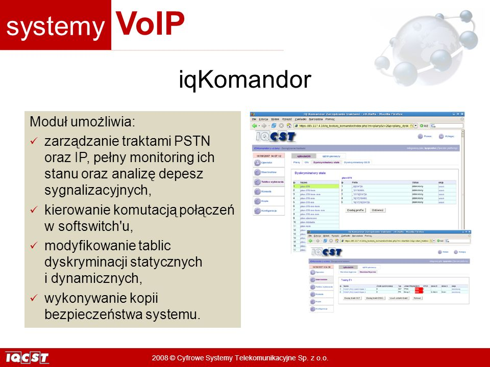 iqKomandor Moduł umożliwia:
