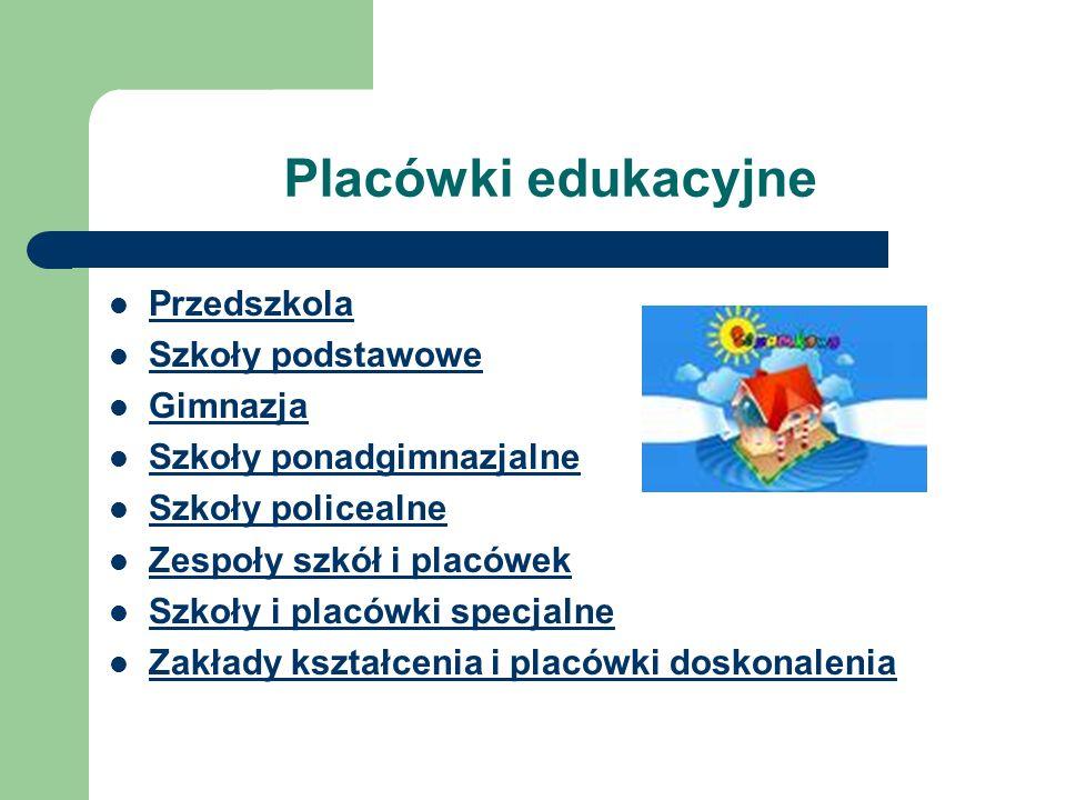 Placówki edukacyjne Przedszkola Szkoły podstawowe Gimnazja