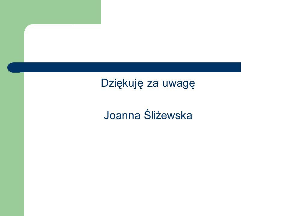 Dziękuję za uwagę Joanna Śliżewska