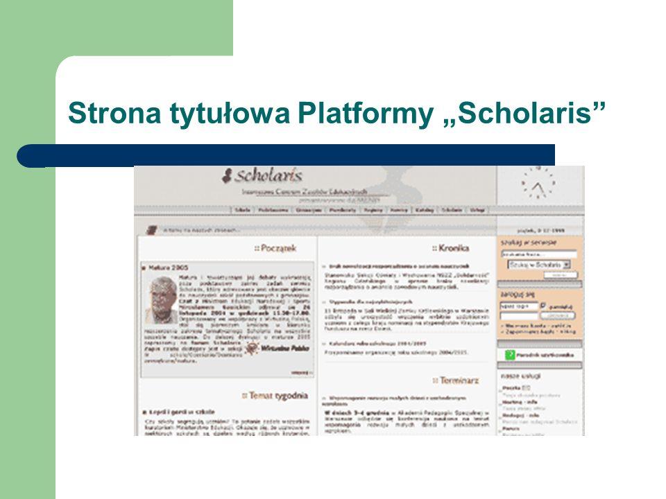 """Strona tytułowa Platformy """"Scholaris"""
