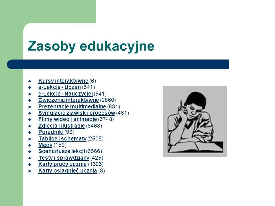 Zasoby edukacyjne Kursy interaktywne (6) e-Lekcje - Uczeń (541)