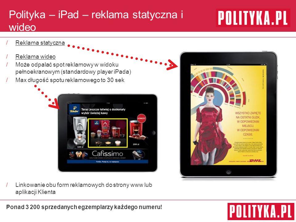 Polityka – iPad – reklama statyczna i wideo