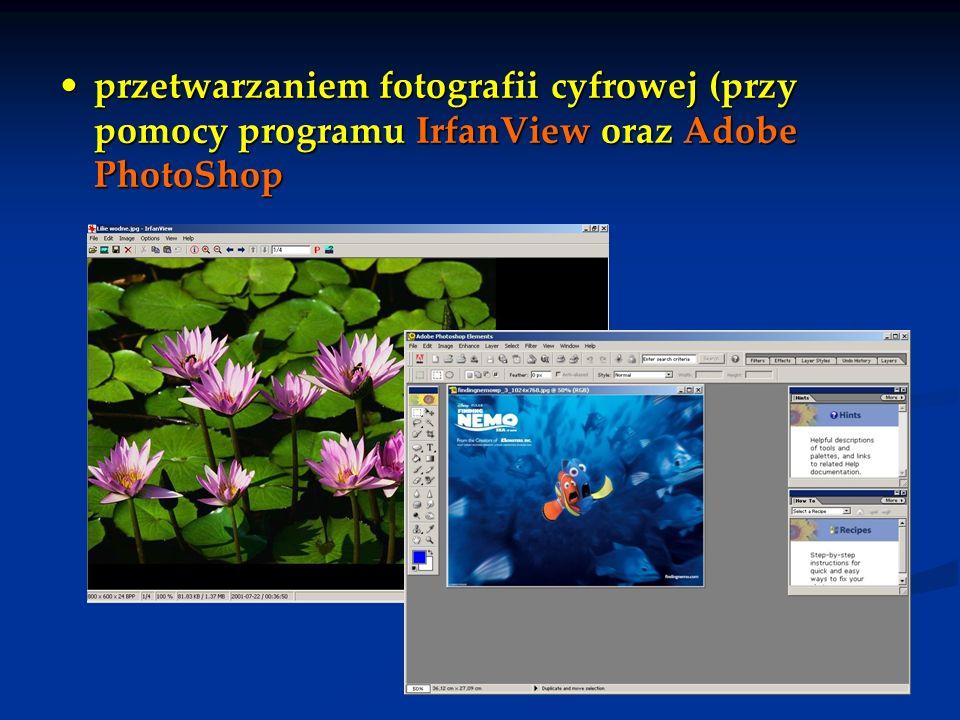 przetwarzaniem fotografii cyfrowej (przy pomocy programu IrfanView oraz Adobe PhotoShop