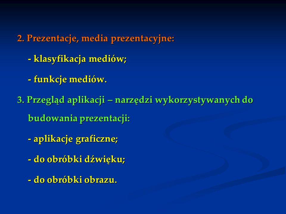 2. Prezentacje, media prezentacyjne:
