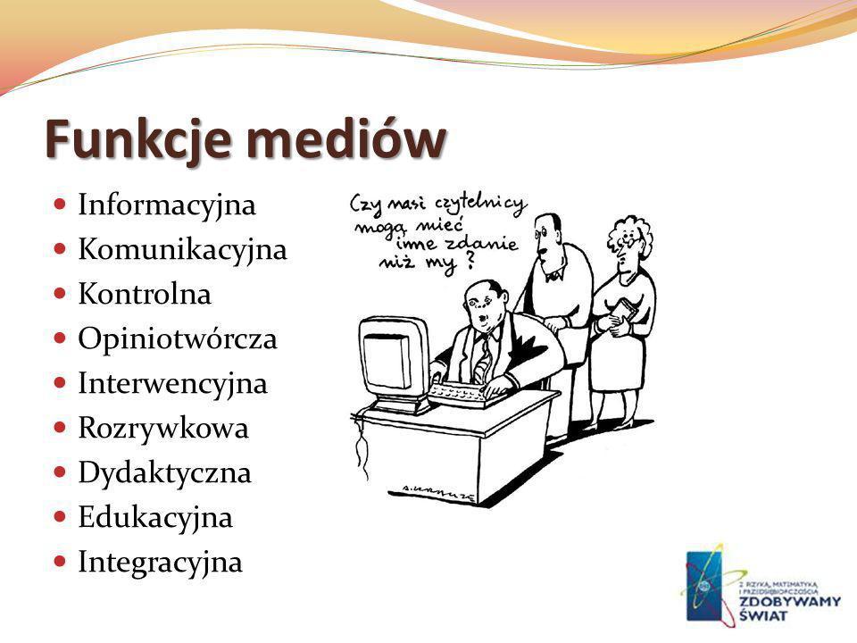 Funkcje mediów Informacyjna Komunikacyjna Kontrolna Opiniotwórcza