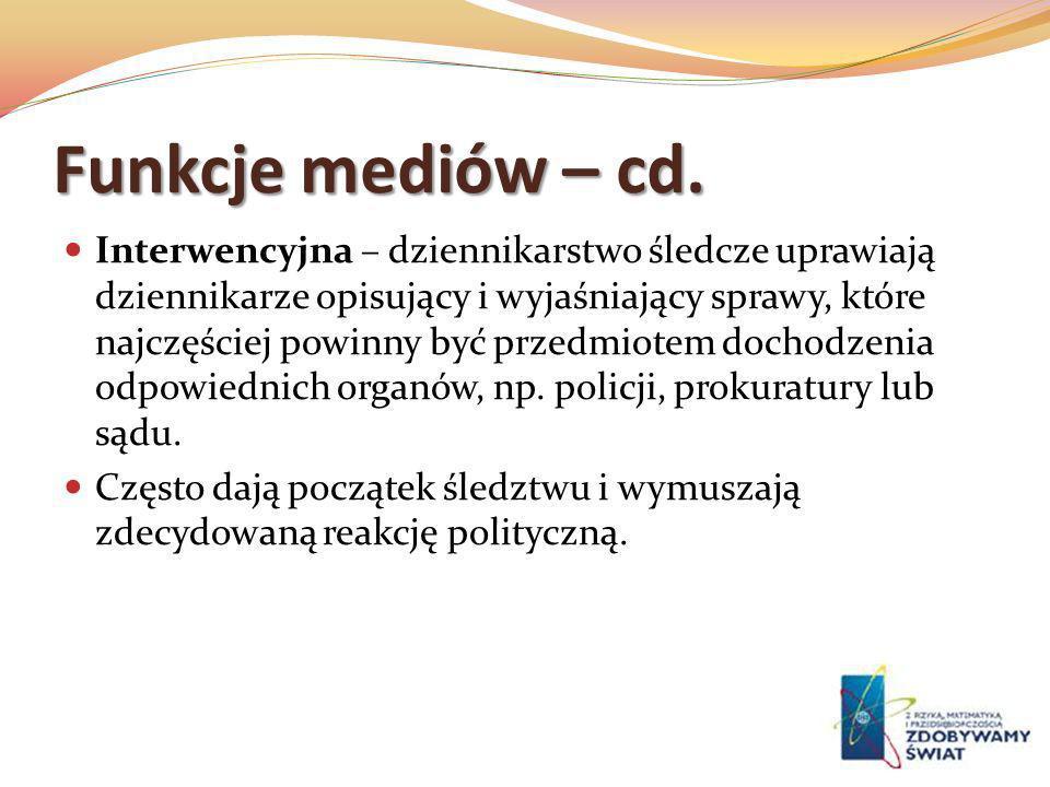 Funkcje mediów – cd.