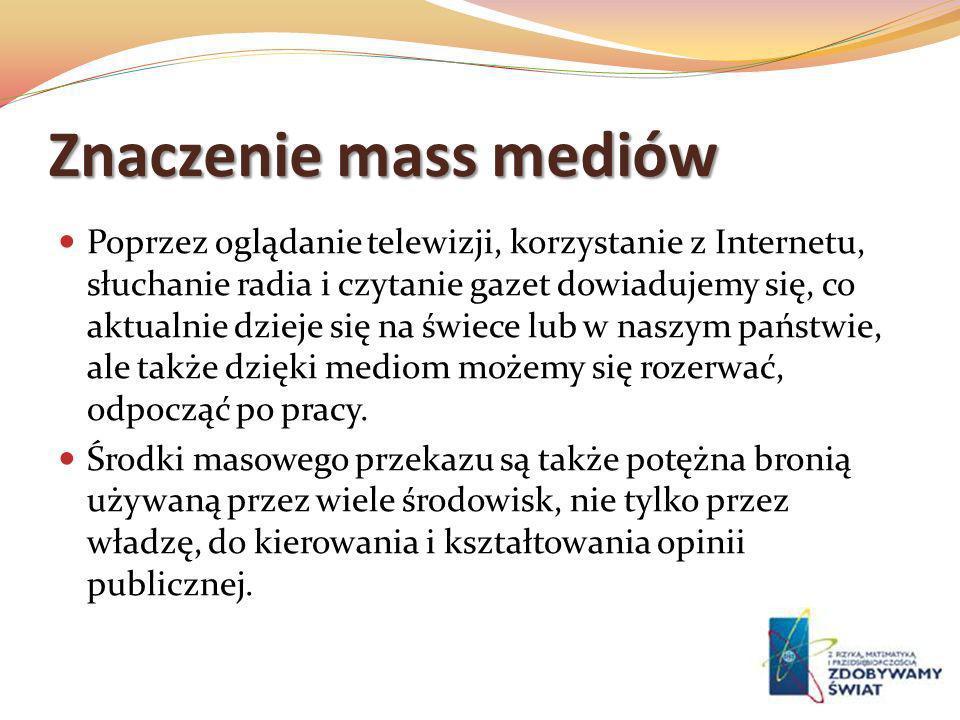 Znaczenie mass mediów