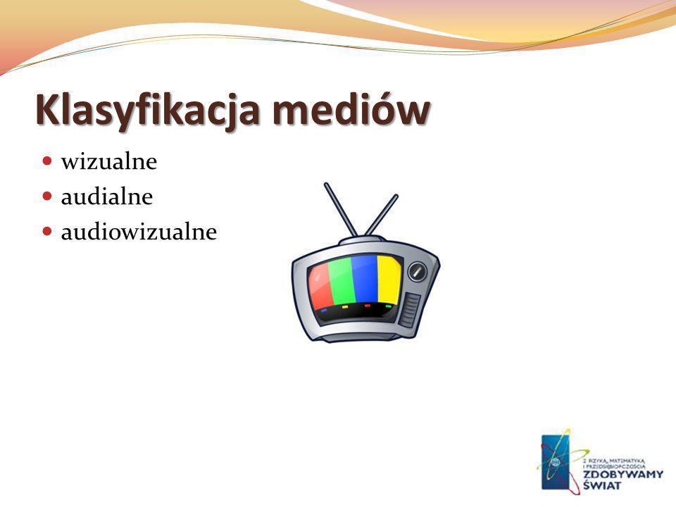 Klasyfikacja mediów wizualne audialne audiowizualne
