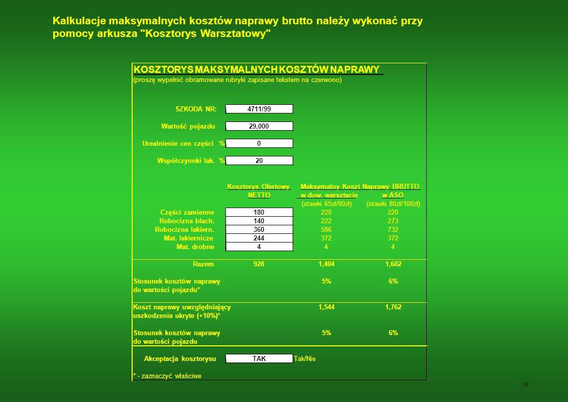 Kalkulacje maksymalnych kosztów naprawy brutto należy wykonać przy pomocy arkusza Kosztorys Warsztatowy