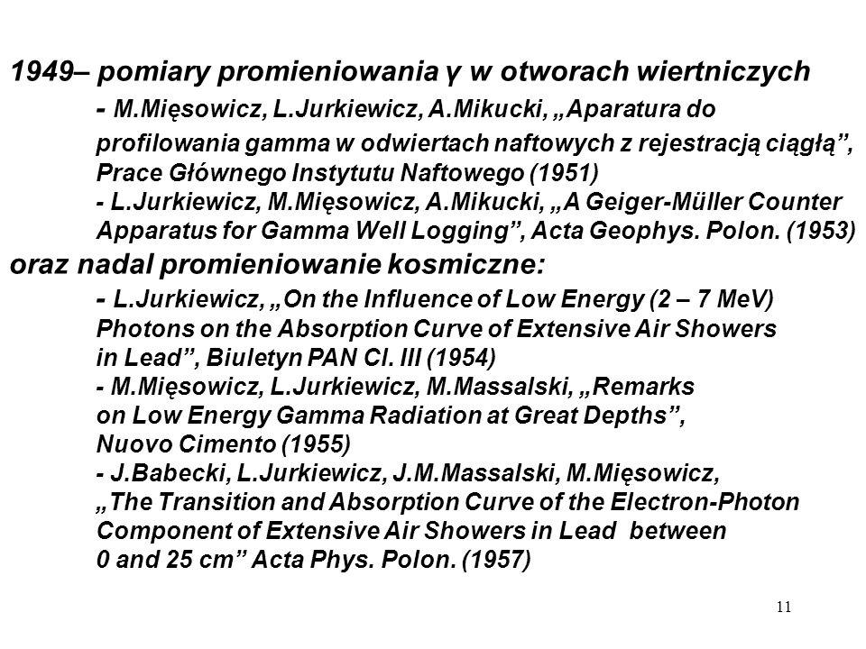 1949– pomiary promieniowania γ w otworach wiertniczych