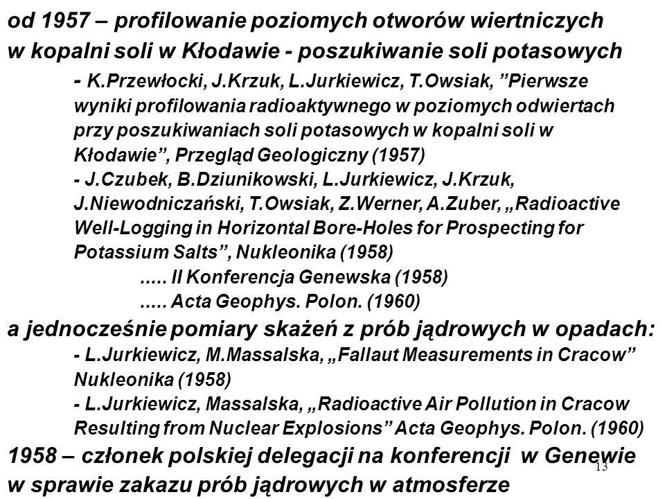 od 1957 – profilowanie poziomych otworów wiertniczych