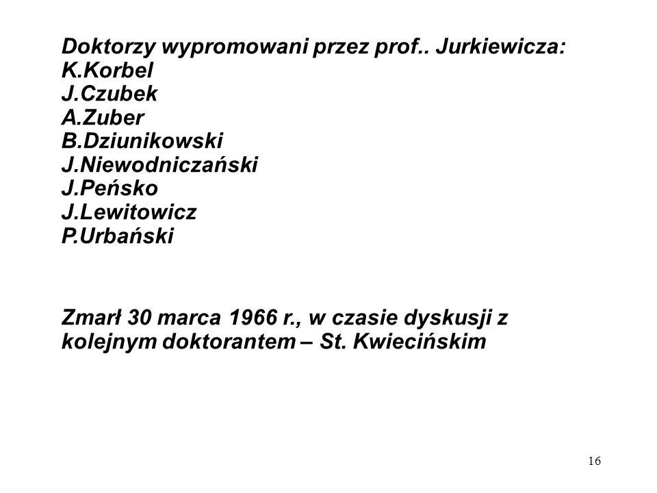 Doktorzy wypromowani przez prof.. Jurkiewicza:
