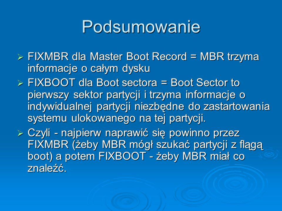 Podsumowanie FIXMBR dla Master Boot Record = MBR trzyma informacje o całym dysku.