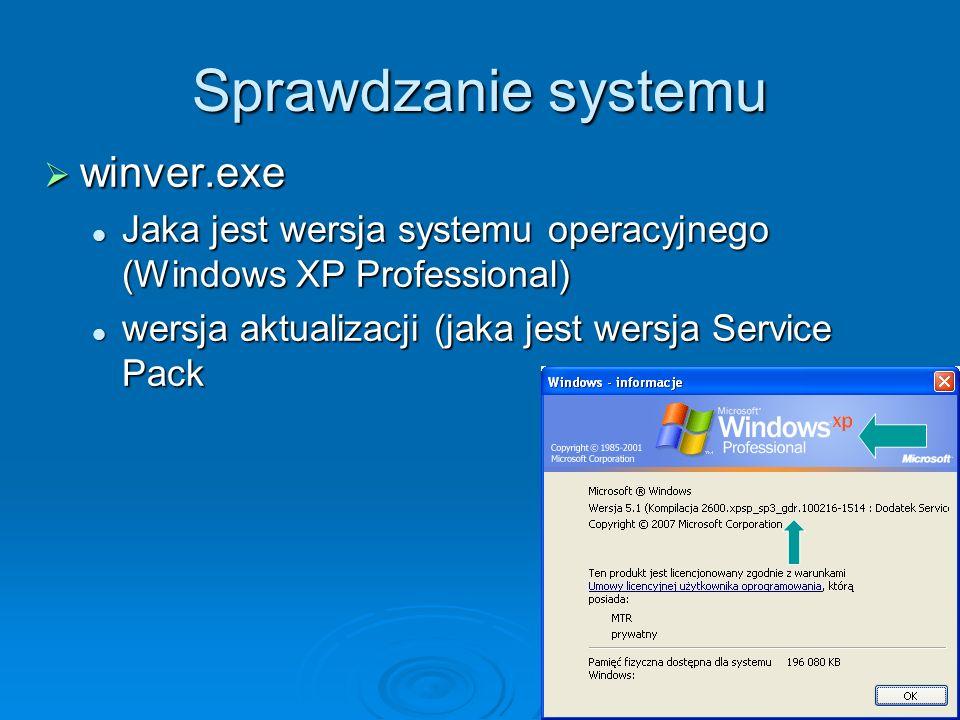 Sprawdzanie systemu winver.exe