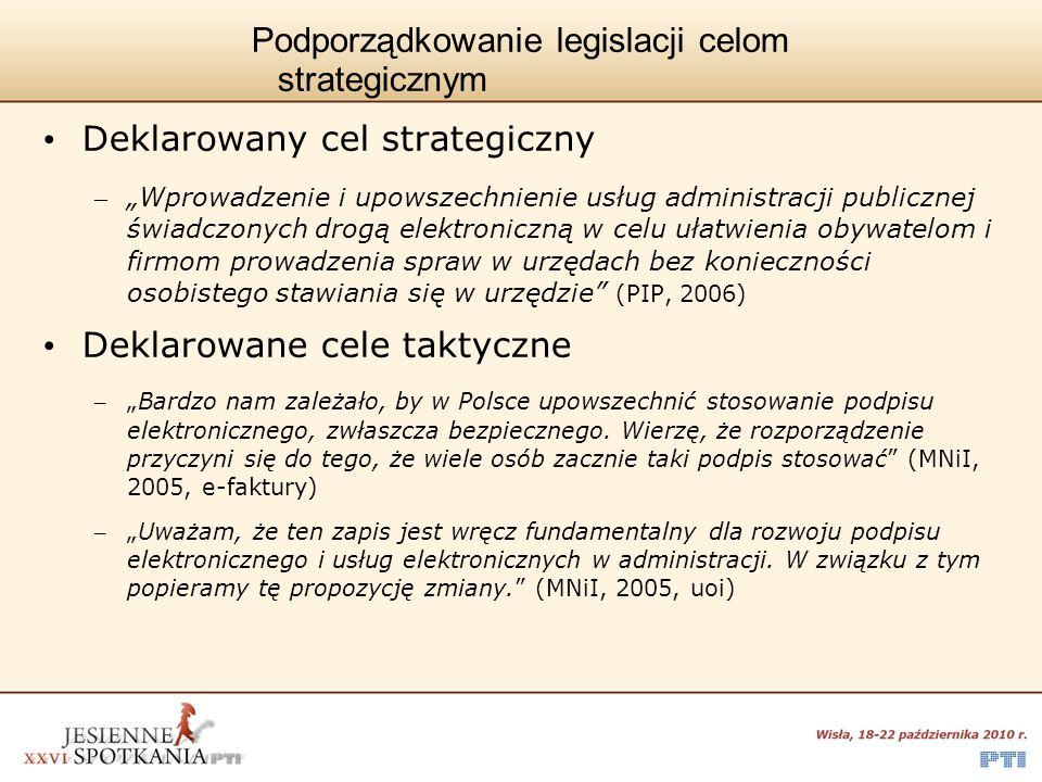 Podporządkowanie legislacji celom strategicznym