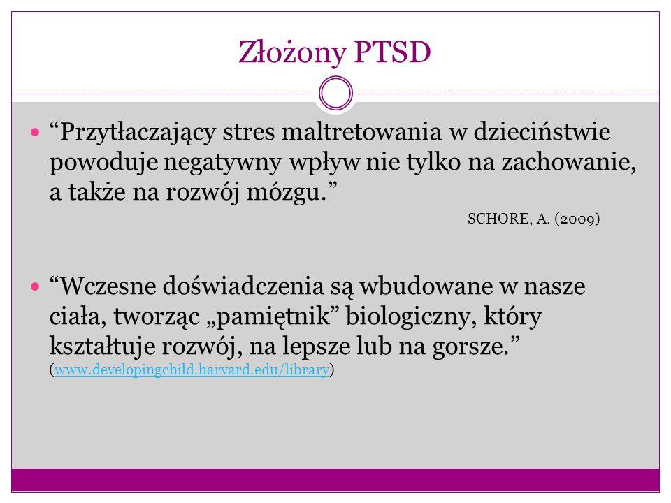 Złożony PTSD Przytłaczający stres maltretowania w dzieciństwie powoduje negatywny wpływ nie tylko na zachowanie, a także na rozwój mózgu.