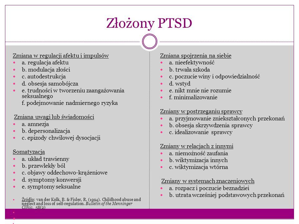 Złożony PTSD Zmiana w regulacji afektu i impulsów a. regulacja afektu