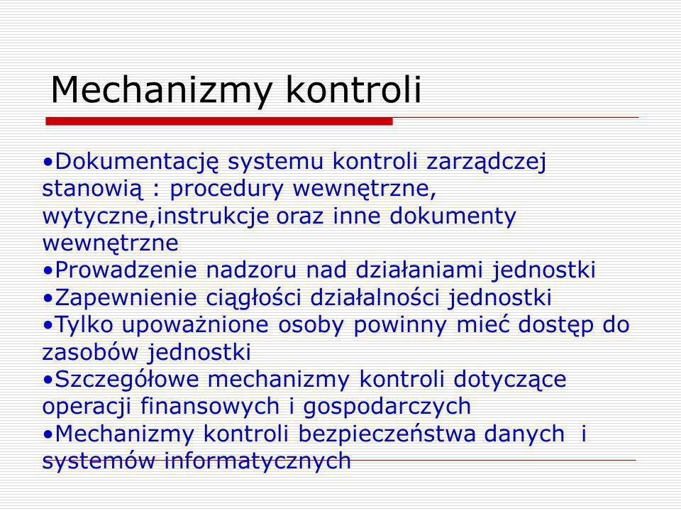 Mechanizmy kontroli Dokumentację systemu kontroli zarządczej stanowią : procedury wewnętrzne, wytyczne,instrukcje oraz inne dokumenty wewnętrzne.