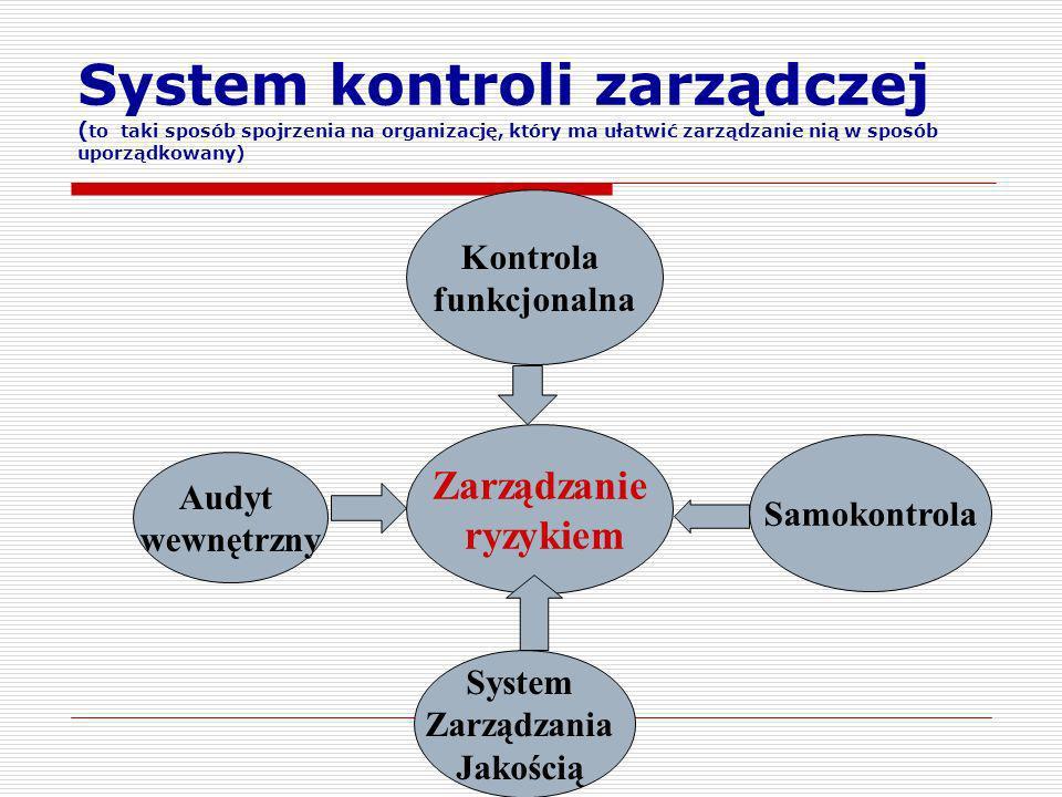 System kontroli zarządczej (to taki sposób spojrzenia na organizację, który ma ułatwić zarządzanie nią w sposób uporządkowany)