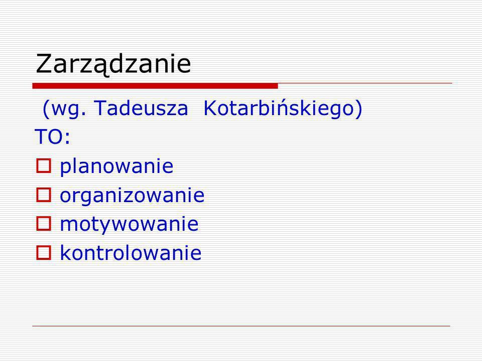 Zarządzanie (wg. Tadeusza Kotarbińskiego) TO: planowanie organizowanie