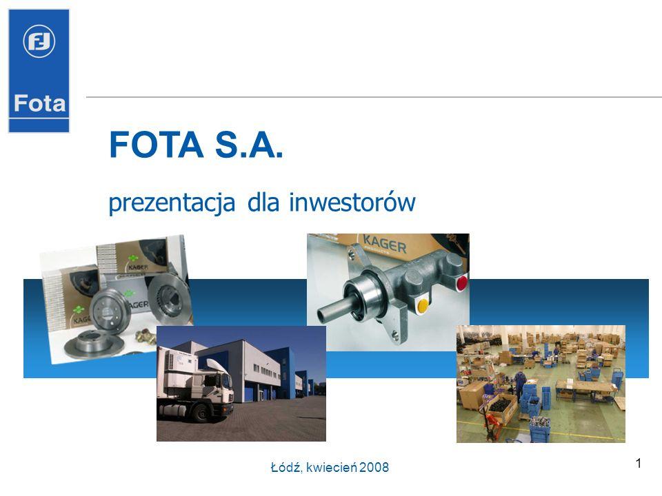FOTA S.A. prezentacja dla inwestorów Łódź, kwiecień 2008
