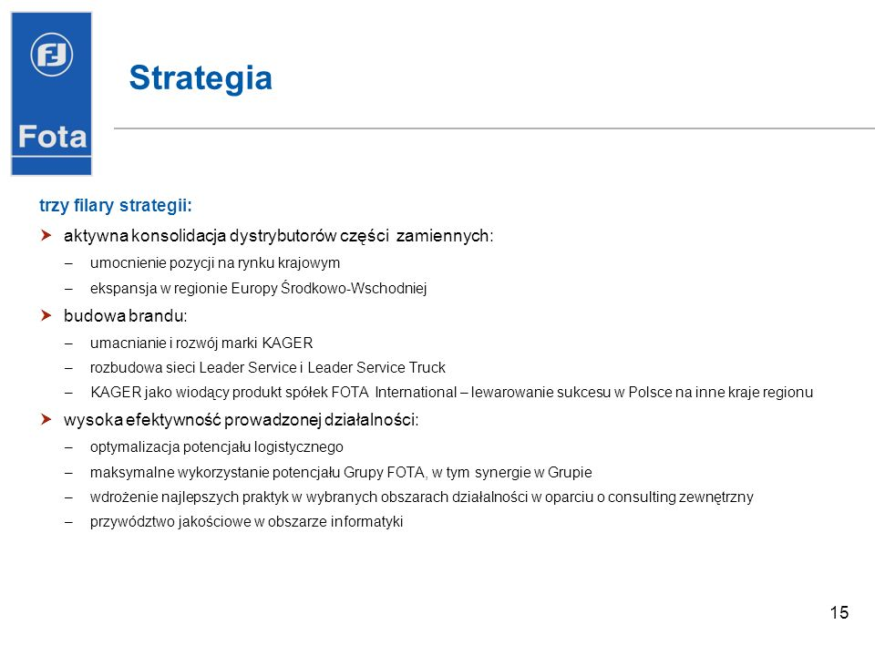 Strategia trzy filary strategii: