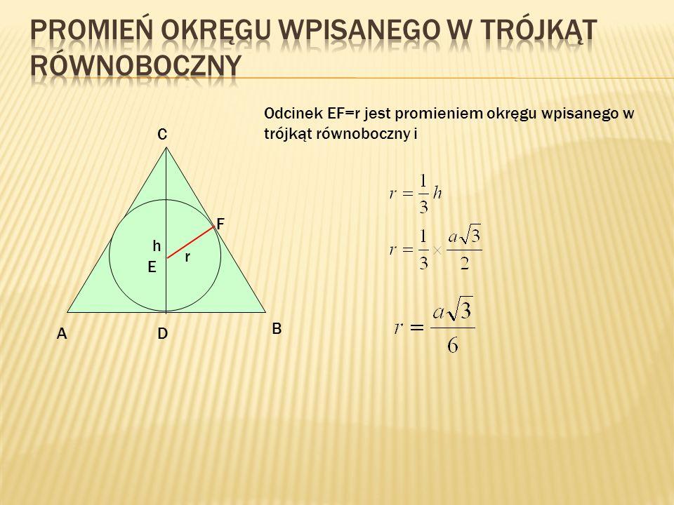 Promień okręgu wpisanego w trójkąt równoboczny