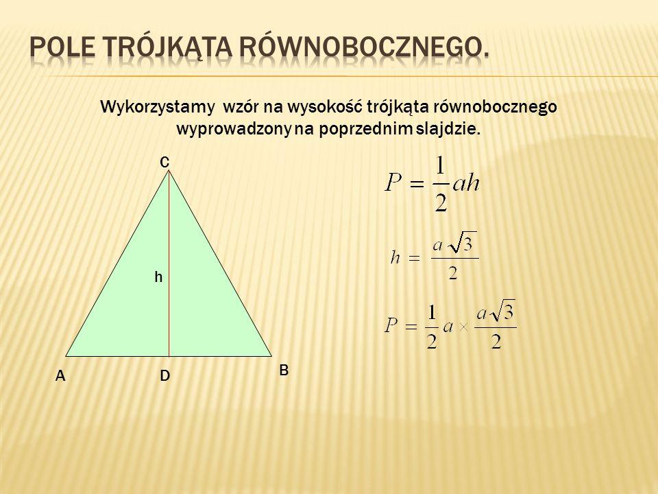 Pole trójkąta równobocznego.